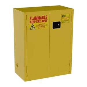 Flammable storage cabinets are required by local safety codes.